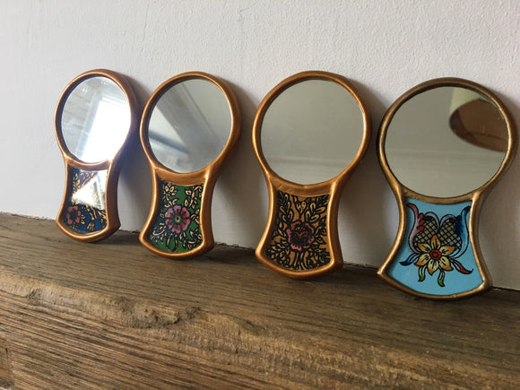Hand mirror, Hand painted glass mirror