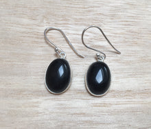Load image into Gallery viewer, Black onyx sterling silver earrings Oval