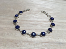 Load image into Gallery viewer, Lapis Lazuli sterling silver bracelet Round