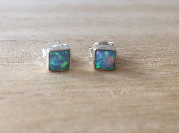 Blue Opal stud silver earrings, Stud  opal silver earrings, opal Earrings, Stud Earrings, square opal earrings, Minimalist, Gif for her