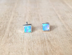 Blue Opal stud silver earrings Square