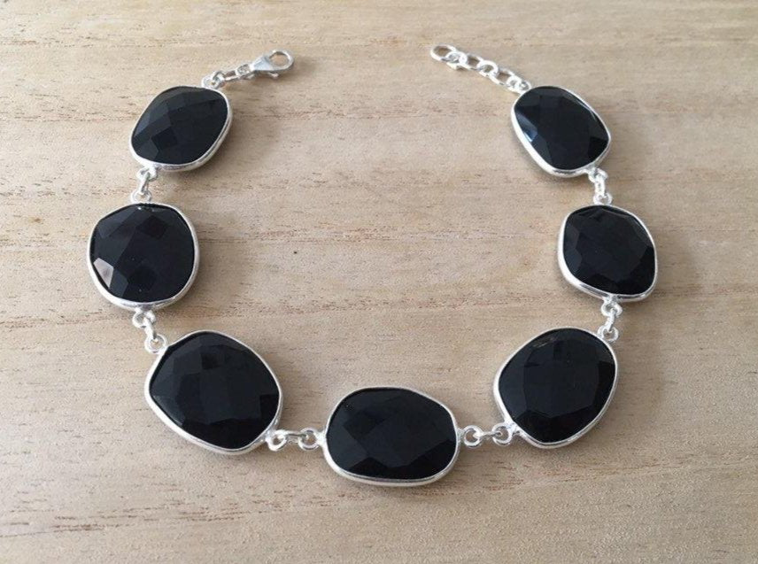 Faceted Black onyx sterling silver bracelet Oval