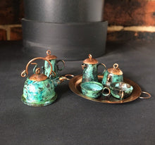 Load image into Gallery viewer, Minature vintage copper tea set.