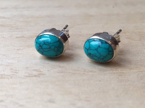 Turquoise stud silver earrings Oval