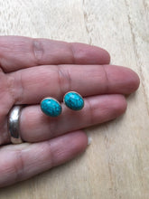 Load image into Gallery viewer, Turquoise stud silver earrings Oval