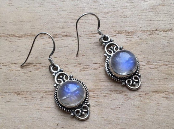 Boho Moonstone silver earrings, Dangle moonstone silver earrings, Rainbow Moonstone Earrings, Drop Earrings, Gift for her
