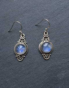 Boho Moonstone silver earrings