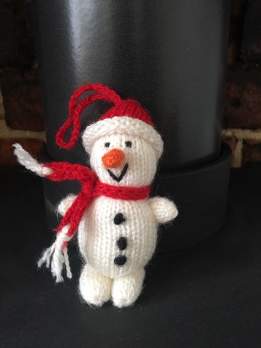 Snowman Christmas Decoration, Hand knitted snowman Christmas decoration, Snowman