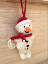 Load image into Gallery viewer, Snowman Christmas Decoration, Hand knitted snowman Christmas decoration, Snowman