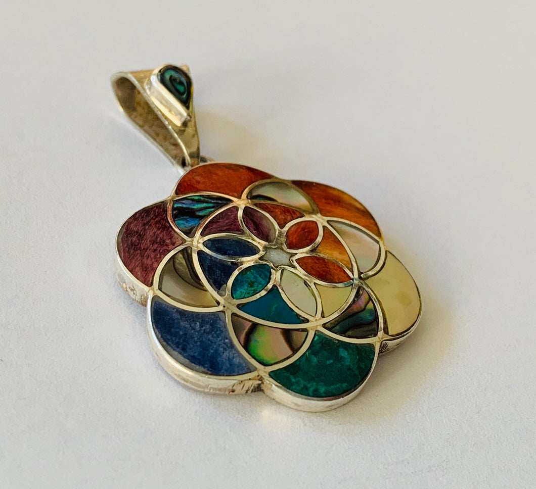 Seed of life with silver pendant , Chakra seed of life silver pendant, Geometry seed of life pendant, Flower of life pendant