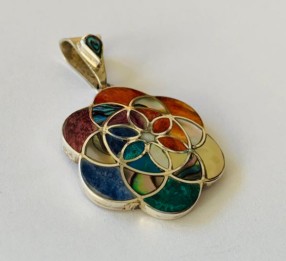 Seed of life with silver pendant , Chakra seed of life silver pendant, Geometry seed of life pendant, Flower of life pendant, Sacred