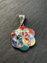 Load image into Gallery viewer, Seed of life with silver pendant , Chakra seed of life silver pendant, Geometry seed of life pendant, Flower of life pendant