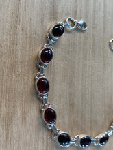 Load image into Gallery viewer, Garnet sterling silver bracelet, Garnet bracelet Oval