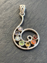 Load image into Gallery viewer, Chakra silver pendant, Chakra necklace, 7 Colour Stone Necklace
