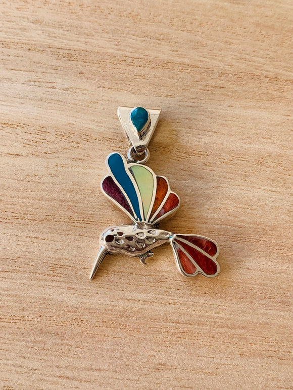 Hummingbird pendant, Sterling Silver Hummingbird necklace, Cute Hummingbird, Colorful bird necklace