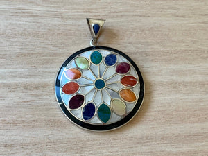 Flower of life with silver pendant ,  Chakra silver pendant, Geometry pattern pendant, Unique pendant