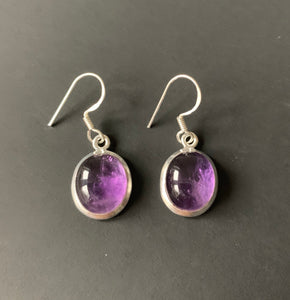 Amethyst sterling silver earrings Oval