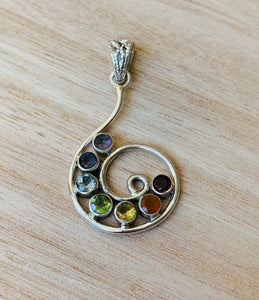 Chakra silver pendant, Chakra necklace, 7 Colour Stone Necklace