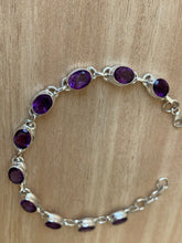 Load image into Gallery viewer, Faceted Amethyst sterling silver bracelet