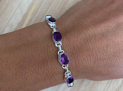Faceted Amethyst sterling silver bracelet