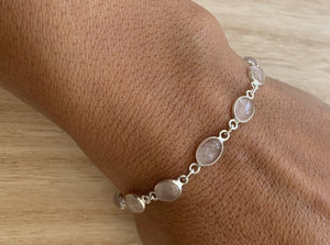 Rose quartz sterling silver bracelet Oval