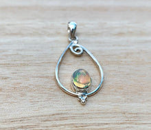 Load image into Gallery viewer, Ethiopian Fiery Opal Pendant, Genuine Opal Silver necklace, Minimalist opal pendant, Ethiopian  pendant, Opal necklace, October birthstone