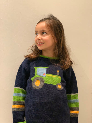 Tractor knit Jumper, Kids sweaters, Blue and green tractor Sweater, Alpaca Knitted jumper, Blue knit children jumper, Farm kids jumper