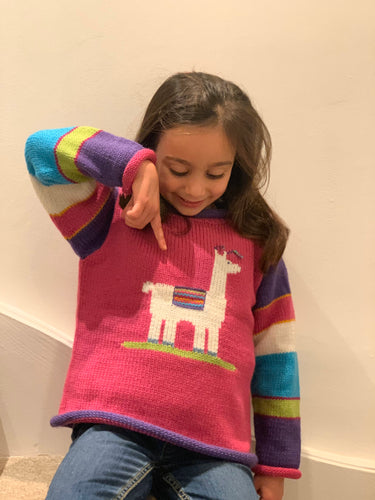 Toddler llama knit jumper, Pink llama pullover made from alpaca wool, Llama sweater, Llama gilrl clothing