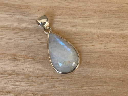 Moonstone silver pendant, Teardrop shaped  Rainbow Moonstone pendant, Moonstone, Moonstone necklace, Moonstone birthstone
