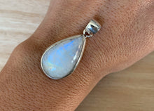 Load image into Gallery viewer, Moonstone silver pendant, Teardrop shaped  Rainbow Moonstone pendant, Moonstone, Moonstone necklace, Moonstone birthstone