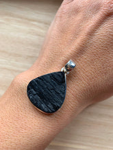 Load image into Gallery viewer, Black turmaline teardrop pendant, Sterling silver raw turmaline  pendant, Tourmaline jewellery, Turmaline,Natural turmaline, Turmaline Gifts