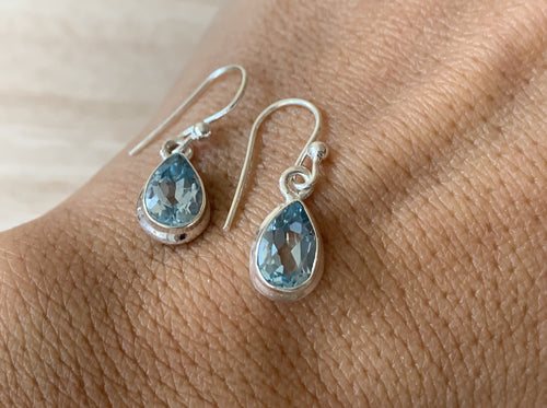 Faceted Blue Topaz sterling silver earrings Teardrop