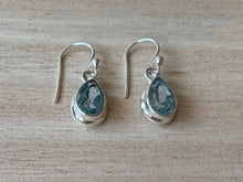 Load image into Gallery viewer, Faceted Blue Topaz sterling silver earrings Teardrop
