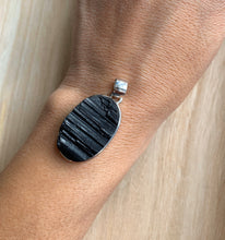 Load image into Gallery viewer, Black turmaline pendant, Sterling silver raw turmaline  pendant, Tourmaline jewellery, Natural turmaline, Turmaline Gifts