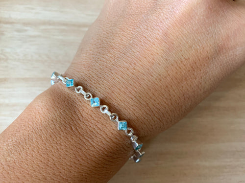 Faceted Blue Topaz sterling silver bracelet Teardrop