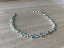 Load image into Gallery viewer, Faceted Blue Topaz sterling silver bracelet Teardrop