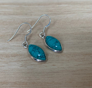 Turquoise silver earrings Oval
