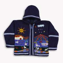 Load image into Gallery viewer, Boy/Baby/Children/Kids Blue fleece lined knitted Cardigan/Sweater/Jacket/Coat with hand embroidered applications