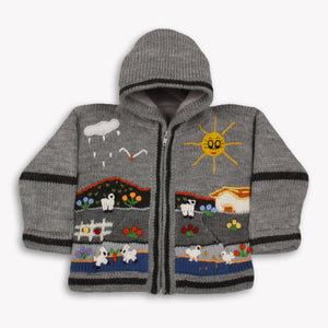 Boy/Baby/Children/Kids Grey fleece lined knitted Cardigan/Sweater/Jacket/Coat with hand embroidered applications
