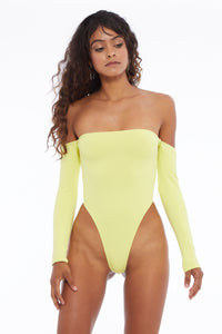 Electra Off-Shoulder Bodysuit Chartreuse