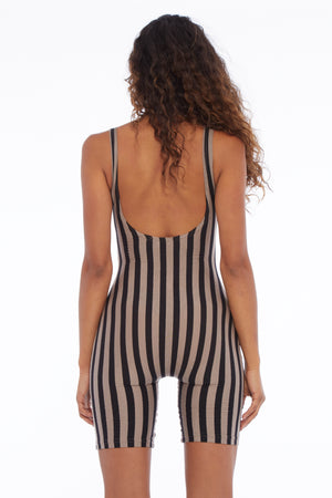 Mocha Striped Playsuit