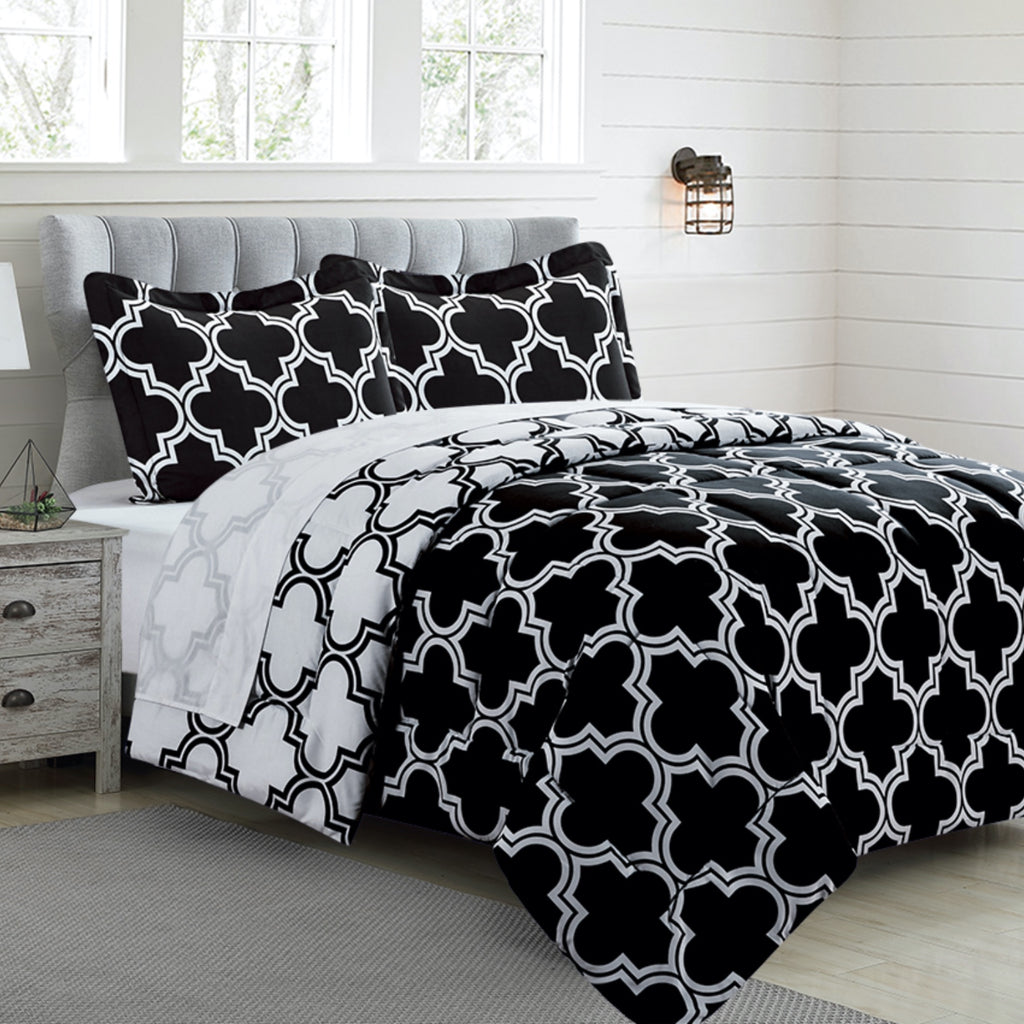Printed Comforter Set - Luxurious Brushed Microfiber - Goose Down Alternative Comforter - Soft and Comfortable