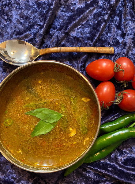 Chicken Rasam! A spicy chicken soup - perfect food for these difficult times.