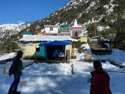 Shiva temple in the snow in Dharamkot, Himachal Pradesh
