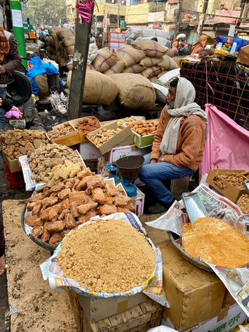 Jaggery or palm sugar varieties and grades at Delhi Spice Market