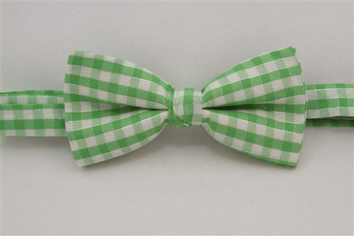 Light Green & White Checkered with Silver Lines (Bow Tie)