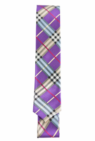 Purple, Light Blue, Black, White, Fuchsia Tartan Plaid (Skinny Tie)