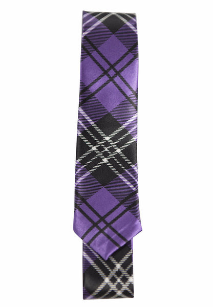 Purple, Black & White Tartan Plaid (Skinny Tie)