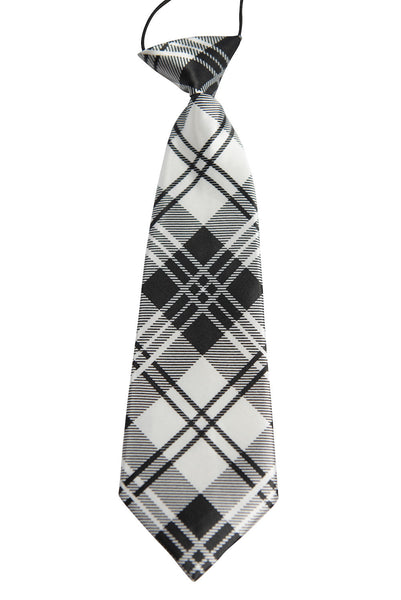 White & Black Tartan Plaid (Children's Tie)