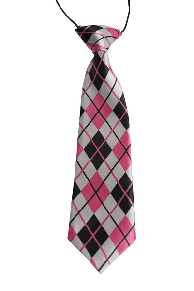 Hot Pink, White, Black Argyle (Children's Tie)